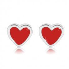 Stříbrné náušnice 925 - pravidelné srdíčko s červenou glazurou, puzetky