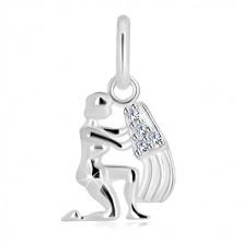 Stříbrný 925 přívěsek - lesklá postava s nádobou, zirkony, znamení VODNÁŘ