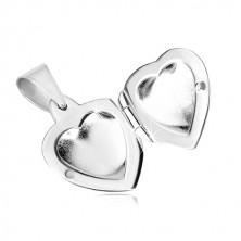Stříbrný přívěsek 925 - medailon, jemně vypouklé zrcadlově lesklé srdce