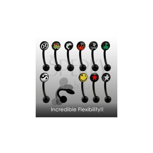 Černý piercing do obočí - EXTRA ohybný s různým motivem