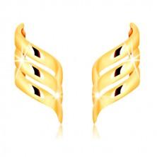 Puzetové náušnice ze žlutého zlata 375 - tři lesklé, spirálovitě zatočené stuhy
