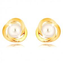 Náušnice z 9K žlutého zlata - tři propletené kroužky, bílá sladkovodní perla, 5 mm