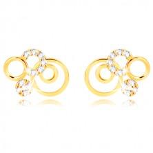 Náušnice ze žlutého zlata 375 - prstence a třpytivé transparentní zirkony