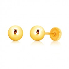Náušnice ve žlutém zlatě 375 - zrcadlově lesklá kulička, puzetky se závitem, 5 mm