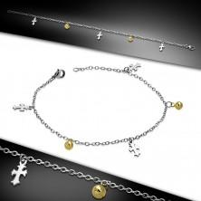 Ocelový řetízek na ruku nebo na nohu - liliové kříže a kuličky zlaté barvy