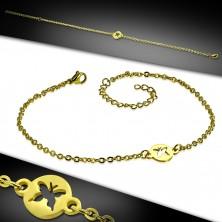 Ocelový řetízek na ruku nebo na nohu zlaté barvy - kroužek s výřezem ve tvaru motýla
