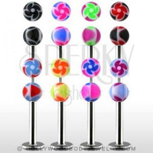 Labret - barevné kuličky s ornamentem spirály