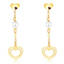 Náušnice ve žlutém zlatě 375 - srdíčko, perla na řetízku, dvojitá srdcovitá kontura