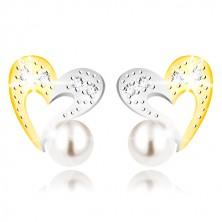 Náušnice z kombinovaného zlata 375 - dvoubarevná kontura srdce, zirkony a bílá perla