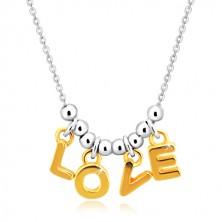 """Náhrdelník ze stříbra 925 - řetízek, písmena """"L-O-V-E"""" ve zlatém odstínu a kuličky"""
