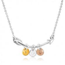 "Stříbrný 925 náhrdelník - zahnutý šíp, trojbarevné kroužky ""I HEART YOU"""
