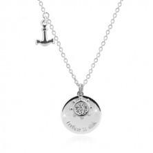 "Stříbrný náhrdelník 925 - kotva, kormidlo, lesklý kruh s nápisem ""I refuse to sink"""