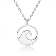 Stříbrný 925 náhrdelník - blýskavý řetízek, vyřezávaný kruh s hřebenem vlny