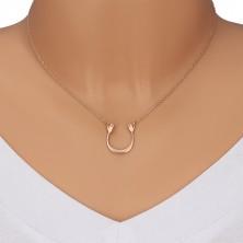 Stříbrný 925 náhrdelník v růžovozlatém odstínu - lesklý oblouček a dvě ruce