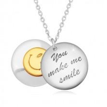 """Stříbrný 925 náhrdelník - dva vypouklé kruhy, nápis """"You make me smile"""", smajlík"""