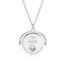 """Stříbrný náhrdelník 925, otáčecí přívěsek s nápisem """"I am LUCKY & BLESSED to HAVE U"""""""