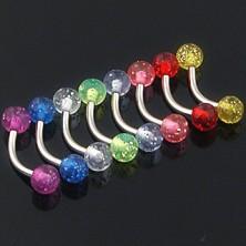 Piercing do obočí - barevné flitrované kuličky