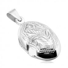 Stříbrný 925 přívěsek - medailon, oboustranně zdobený ovál s přírodním motivem