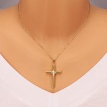 Stříbrný přívěsek 925 - kříž zlaté barvy, menší křížek uprostřed, zrníčkovité zářezy
