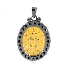 Přívěsek ze stříbra 925 - Zázračná medaile ve zlatém odstínu, ozdobný okraj tmavě šedé barvy