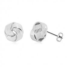 Náušnice ze stříbra 925 - lesklý prostorový uzel s úzkými liniemi, puzetky