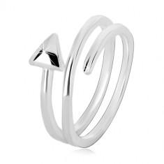 Prsten ze stříbra 925 - úzká spirálovitě zatočená šipka, lesklý povrch