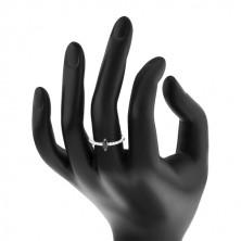 Stříbrný 925 prsten - úzká ramena, zirkonové zrnko černé barvy, čiré zirkonky