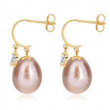 Diamantové náušnice ve žlutém 14K zlatě - lesklý oblouček, oválná perla a briliant