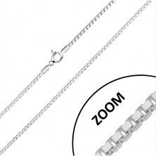 Blýskavý řetízek ze stříbra 925 - kolmo napojovaná hranatá očka, 1,8 mm