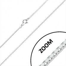 Stříbrný řetízek 925 - lesklé hranaté články, čtvercový průřez, 1,2 mm