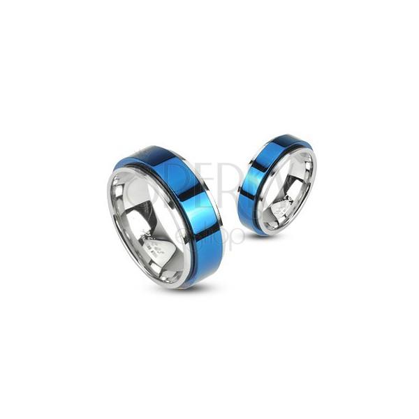 Prsten z oceli otáčivý - modrý