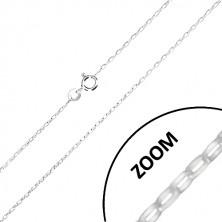 Stříbrný 925 řetízek - širší oválná očka, lesklý povrch, 1,4 mm