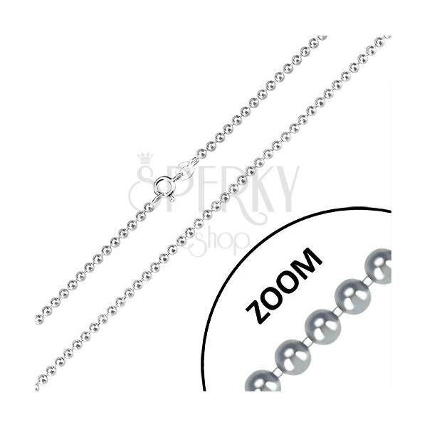 Stříbrný řetízek 925 - zrcadlově lesklé kuličky, armádní motiv, 2,5 mm