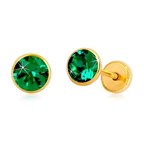 Zlaté 14K náušnice - smaragdově zelený zirkon v objímce, puzetky se závitem, 5 mm