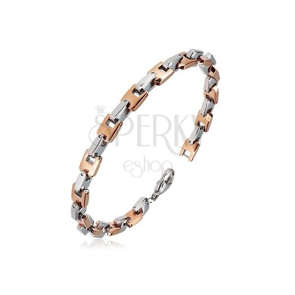 Ocelový náramek - kolmo napojované články U růžovozlaté a stříbrné barvy, 6 mm