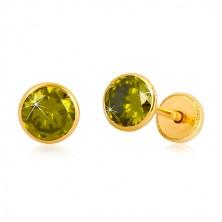 Zlaté náušnice 585 - kulatý zirkon zelené barvy, puzetky se závitem, 5 mm