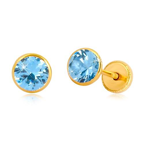 Náušnice ze žlutého 14K zlata - modravý zirkon v objímce, puzetky se závitem, 5 mm