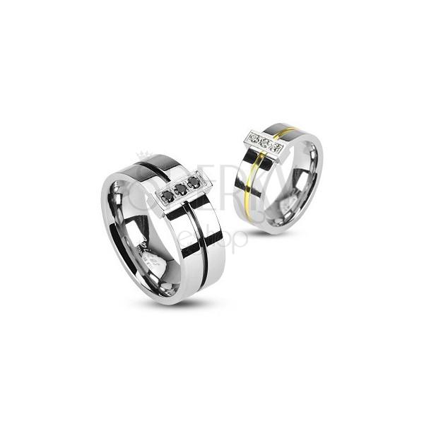 Prsten z chirurgické oceli, 3 zirkony