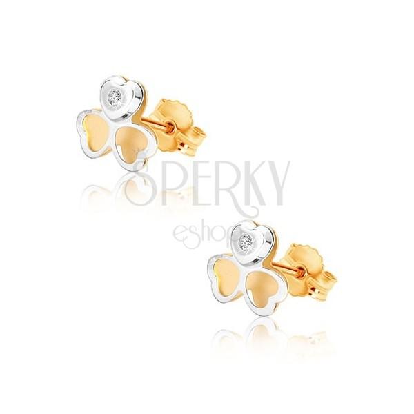 Náušnice z kombinovaného zlata 375 - dvoubarevný trojlístek, drobný zirkonek