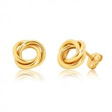 Puzetové náušnice ze žlutého zlata 375 - tři lesklé propletené prstence