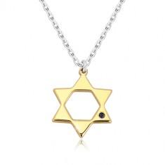 Stříbrný 925 náhrdelník - Davidova hvězda ve zlatém odstínu, černý diamant S76.17