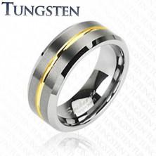 Wolframový prsten s pruhem ve zlaté barvě, 8 mm