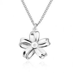 Stříbrný náhrdelník 925 - lesklá stuha, květ s pěti okvětními lístky a s briliantem