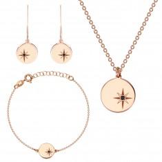 Stříbrný trojset 925 růžovozlaté barvy - severní hvězda, černý diamant