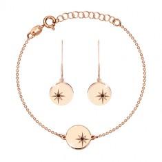 Stříbrná 925 sada, růžovozlatý odstín - náramek a náušnice, kruh s Polárkou, černý diamant