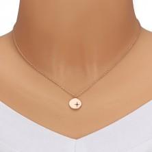 Stříbrný 925 náhrdelník růžovozlaté barvy - lesklý kruh, severní hvězda, černý diamant