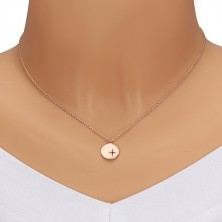 Stříbrný set 925 růžovozlaté barvy - náhrdelník a náušnice, kruh s Polárkou, černý diamant
