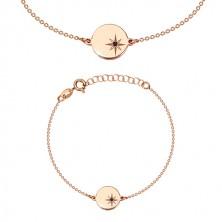 Náramek růžovozlaté barvy, stříbro 925 - lesklý kruh, severní hvězda, černý diamant