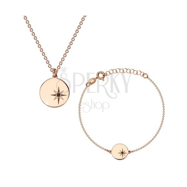 Stříbrná sada 925, růžovozlatý odstín - náramek a náhrdelník, kruh, Polárka a diamant
