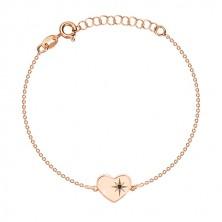 Trojset růžovozlaté barvy, stříbro 925 - lesklé srdce, severní hvězda, černý diamant